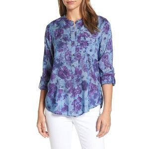 LUCKY BRAND CHAMBRAY FLORAL PRINT UTILITY SHIRT XS